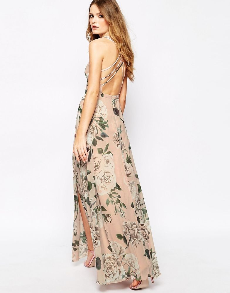 Fame and partners wrap front open back floral maxi dress for Print maxi dress for wedding