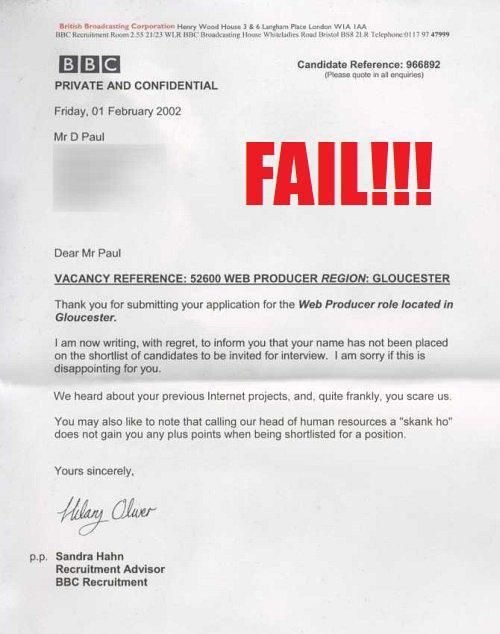 pretty neat rejection letter considering circumstances - employment rejection letter