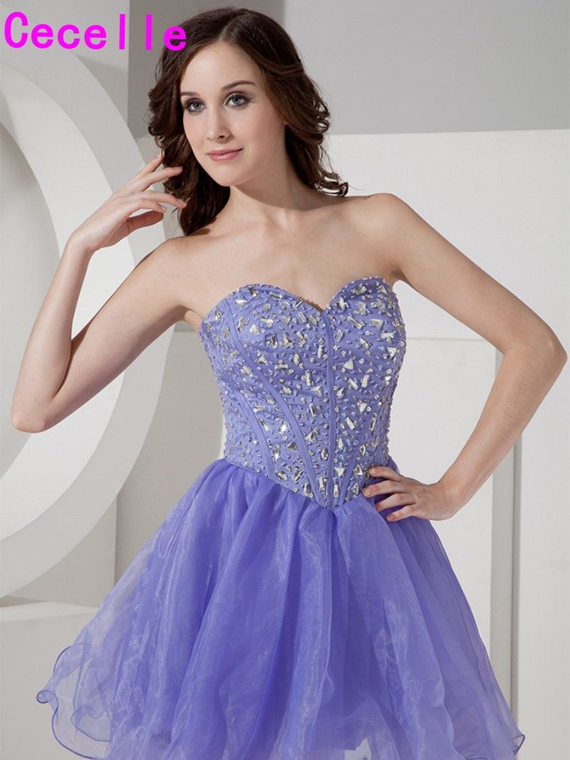 Real Short Lavender Cocktail Dresses Sweetheart Cotail Party Dresses ...