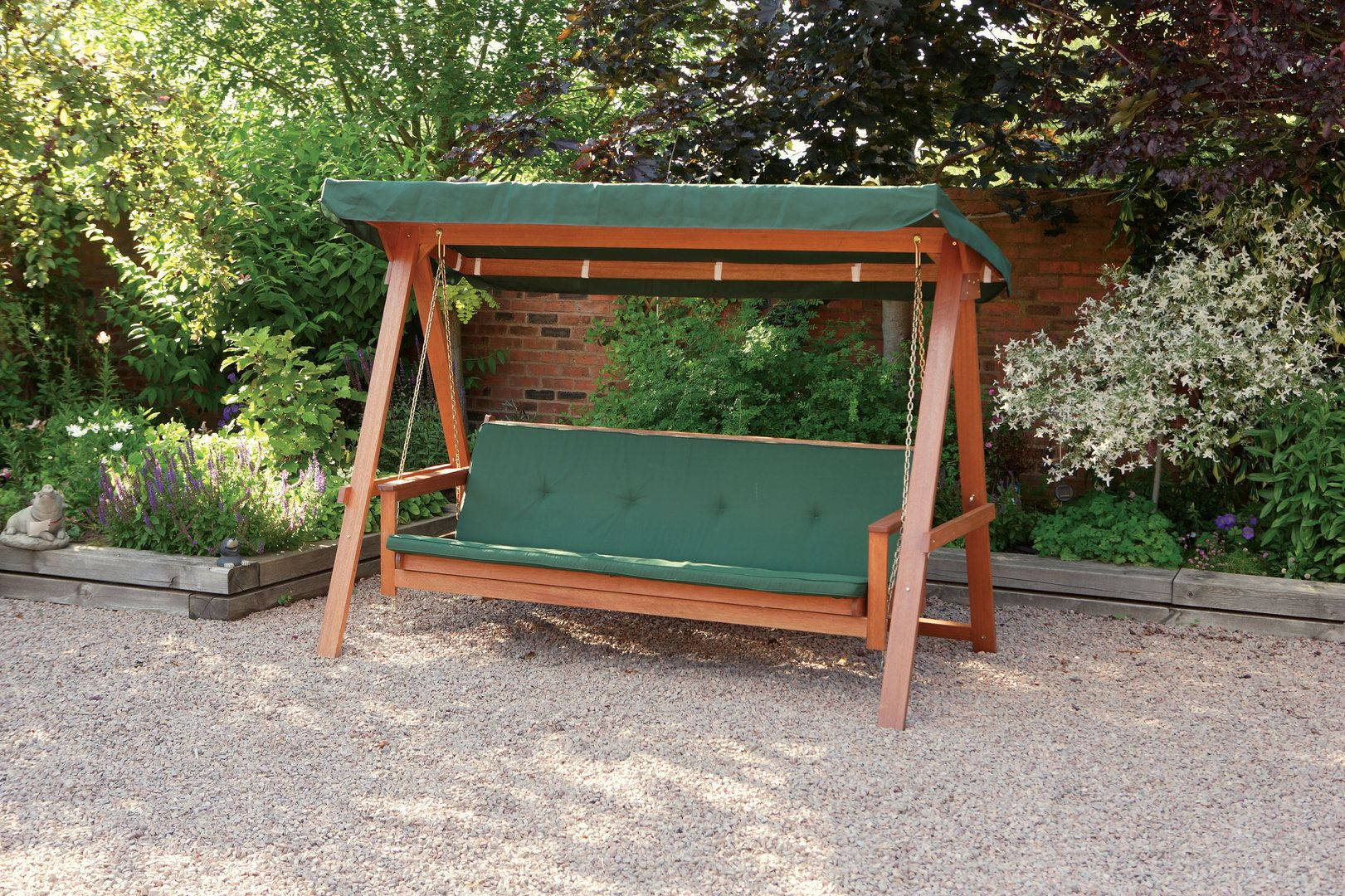 Quality Wooden Swing Bed 3 Seater Garden Swing Seat With Cushions Uk Home Improvement