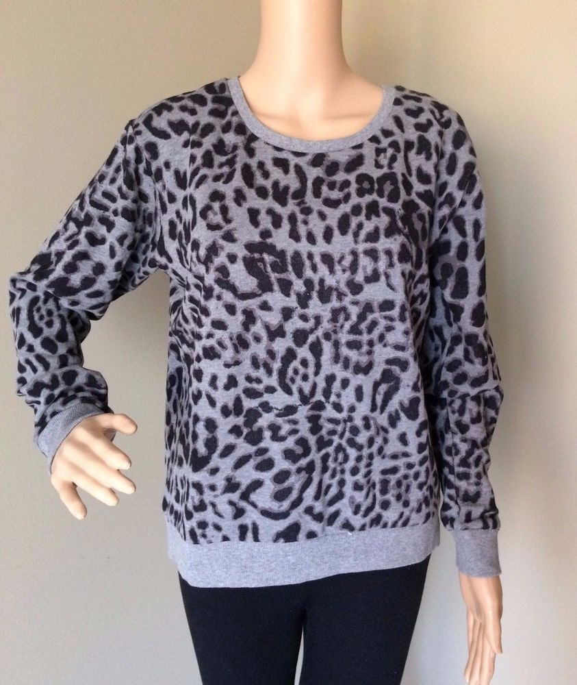 Women S H M Leopard Print Boyfriend Sweatshirt Black Gray Long Sleeve Size M Hm Boyfriend Casua Womens Crewneck Sweaters And Jeans Boyfriend Sweatshirts [ 1000 x 843 Pixel ]