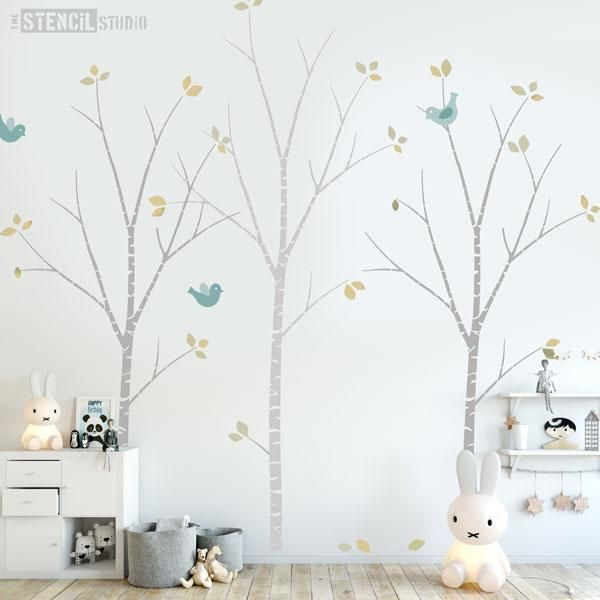 Birch Tree Stencil Pack for kids rooms and nursery wall murals