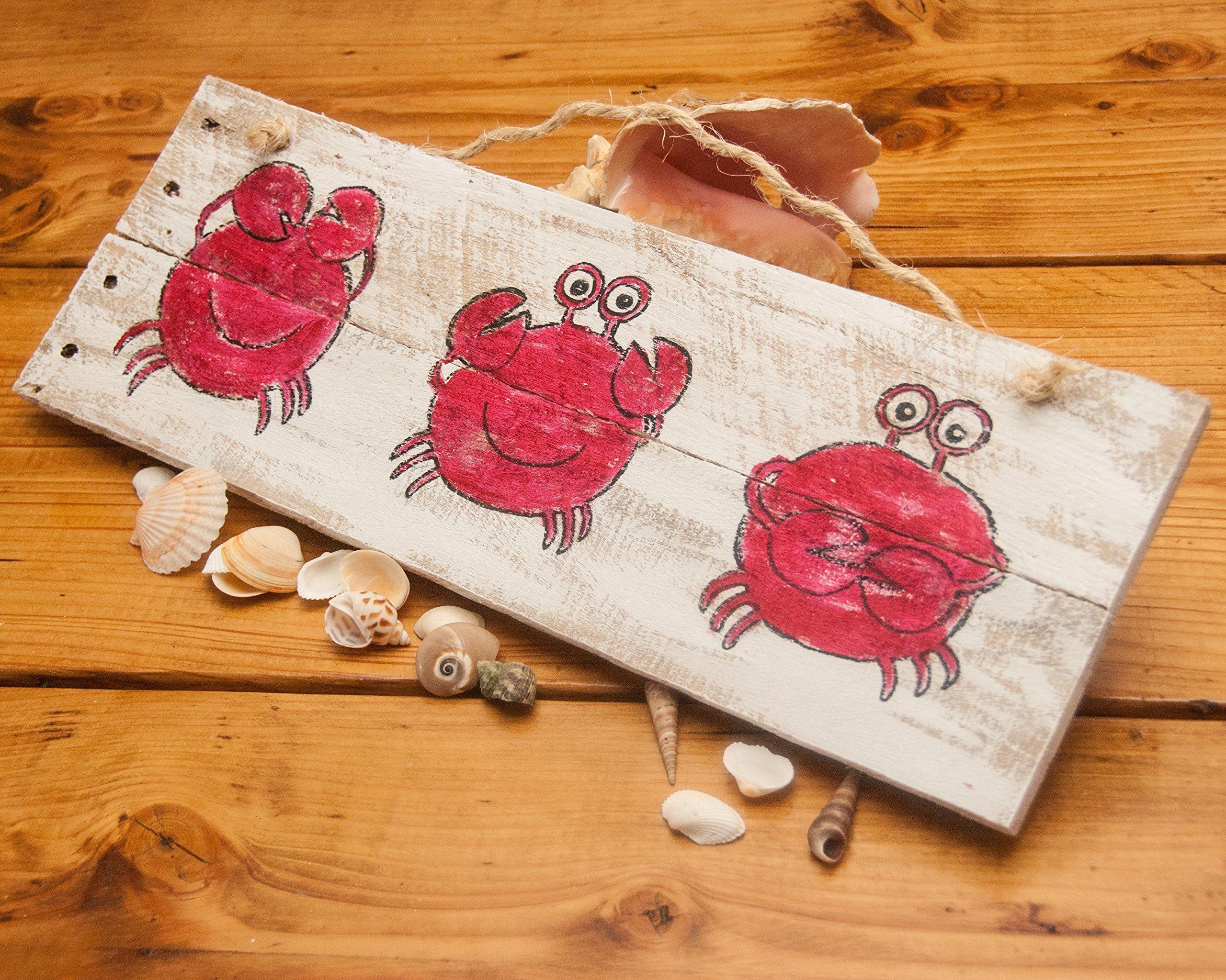 See no evil crab decor rustic beach decor rustic beach sign wood