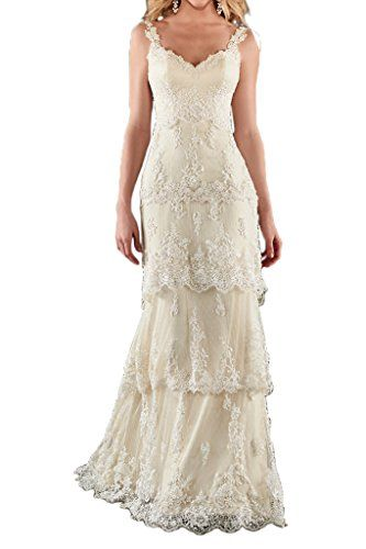 MILANO BRIDE Romantic Beach Wedding Dress Sweetheart Backless Sheath Lace6Champagne Click Image To Review