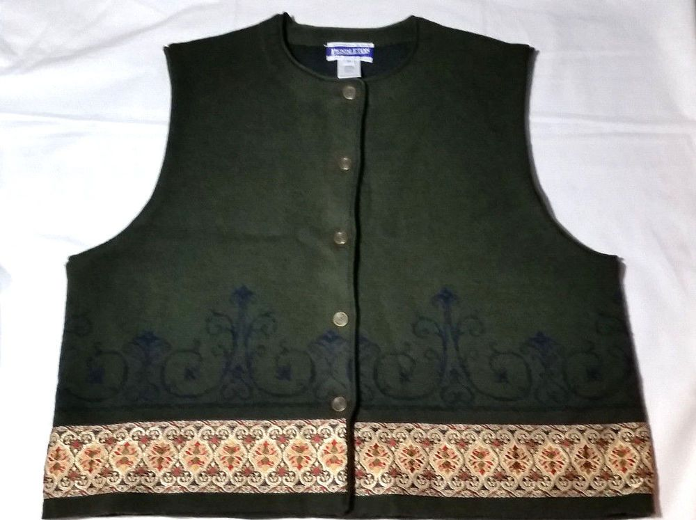 Details about PENDLETON Womens Dark Green Wool Blend Sweater Vest ...