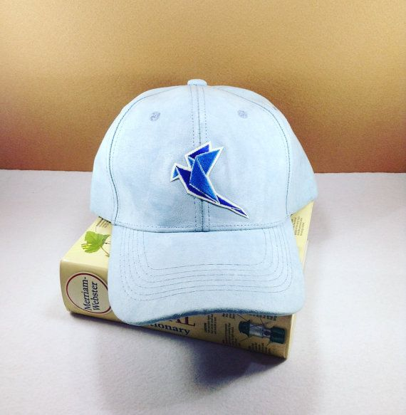 A cute blue cap with Origami blue bird by SundayNeek on Etsy