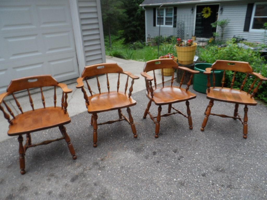 Vintage Ethan Allen Captain Old Tavern Pub Chairs 10 6031 Nutmeg