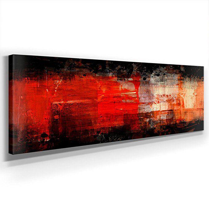 Schwarz Rot Abstrakt Panoramabild - XXL 150x50cm, Leinwand auf - wohnzimmer rot orange