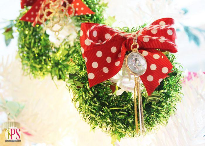 Miniature tinsel wreath christmas craft christmas crafts