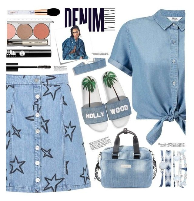 """All Denim"" by aimaespiritu on Polyvore featuring A.X.N.Y., Miss Selfridge, Être Cécile, Joshua's, Steve Madden, Chantecaille, Charlotte Russe, Alima and Post-It"