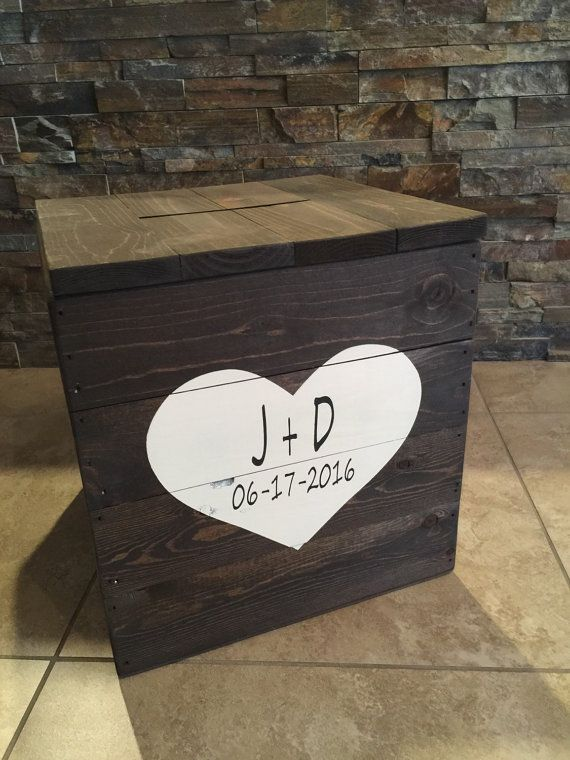 Rustic Pallet Wood Wooden Wedding Gift Card Box Wedding Card Box ...