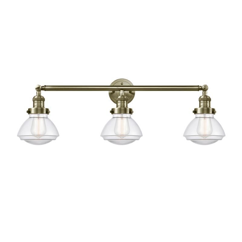 "Photo of Innovations lighting 205 Olean Olean 3 Light 31 ""wide bathroom basin lamp antique brass / clear interior lighting bathroom lamps basin lamp"