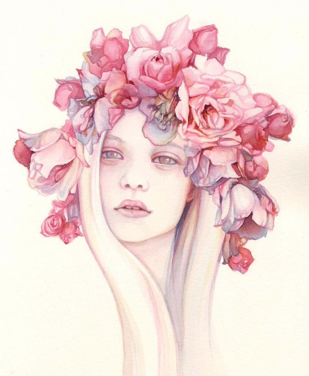 Pink - woman - roses - watercolor - \