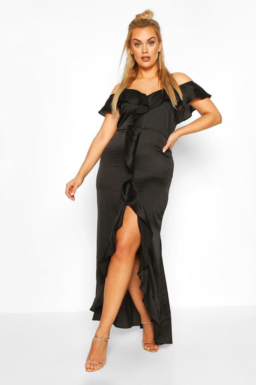 Plus Cold Shoulder Ruffle Satin Midaxi Dress Boohoo Bodycon Fashion Maxi Dress Collection Latest Maxi Dresses [ 1500 x 1000 Pixel ]