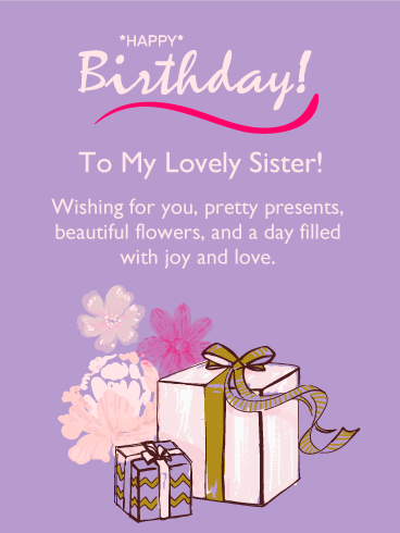To My Lovely Sister Happy Birthday Card Birthday Greeting Cards By Davia Birthday Greetings For Sister Happy Birthday Boss Lady Happy Birthday Boss