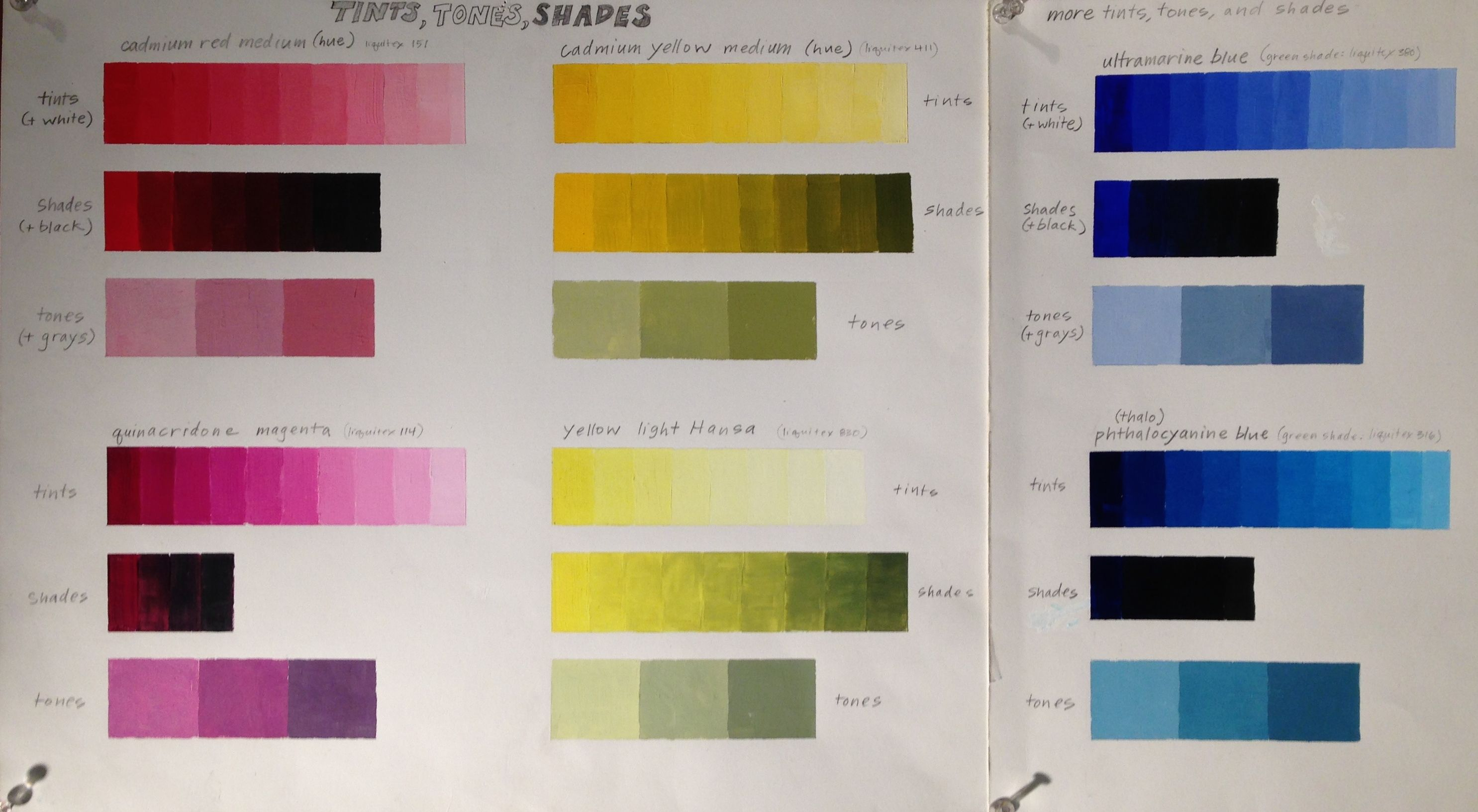 Srjc Tints Tones Shades Chart Of Six Colors Chart Tints Color