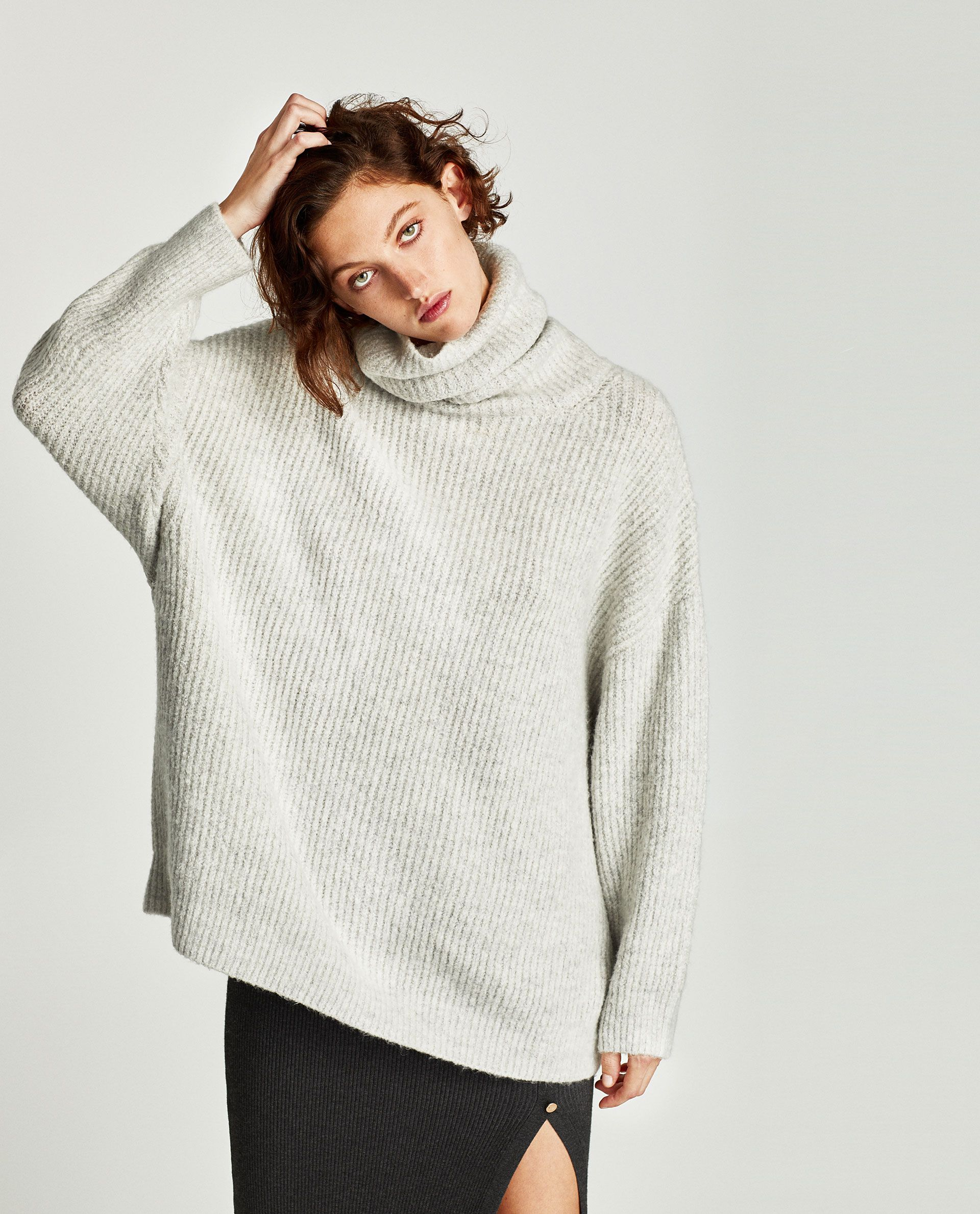 01824d050ef Zara Oversized Roll Neck Sweater in Mid-Grey