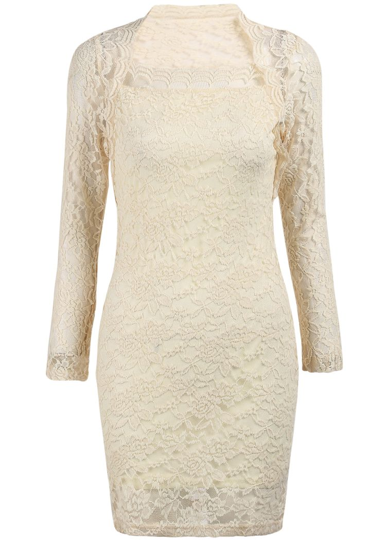 Apricot Long Sleeve Embroidered Lace Bodycon Dress