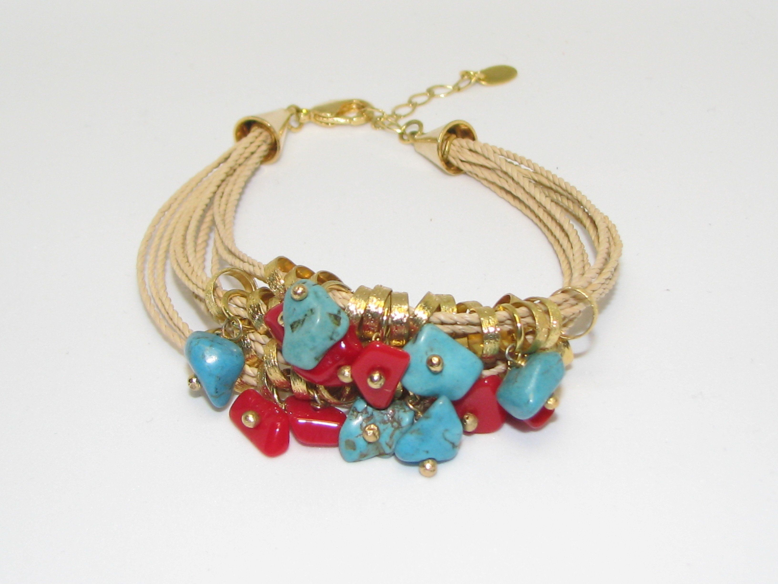 Red coral turquoise rock stone gold plated beads multi strand rope