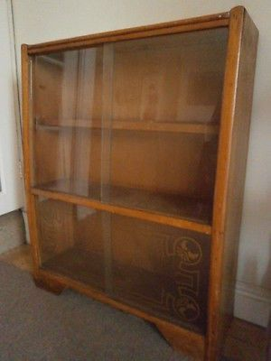 Vintage wooden display cabinet / bookcase with #glass sliding ...