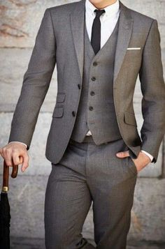 Mens Street Style Fashion Three 3 Piece Grey Suit Trouser Pants Vest Jacket With Skinny Black Tie And White Crisp Shirt For Wedding Mw