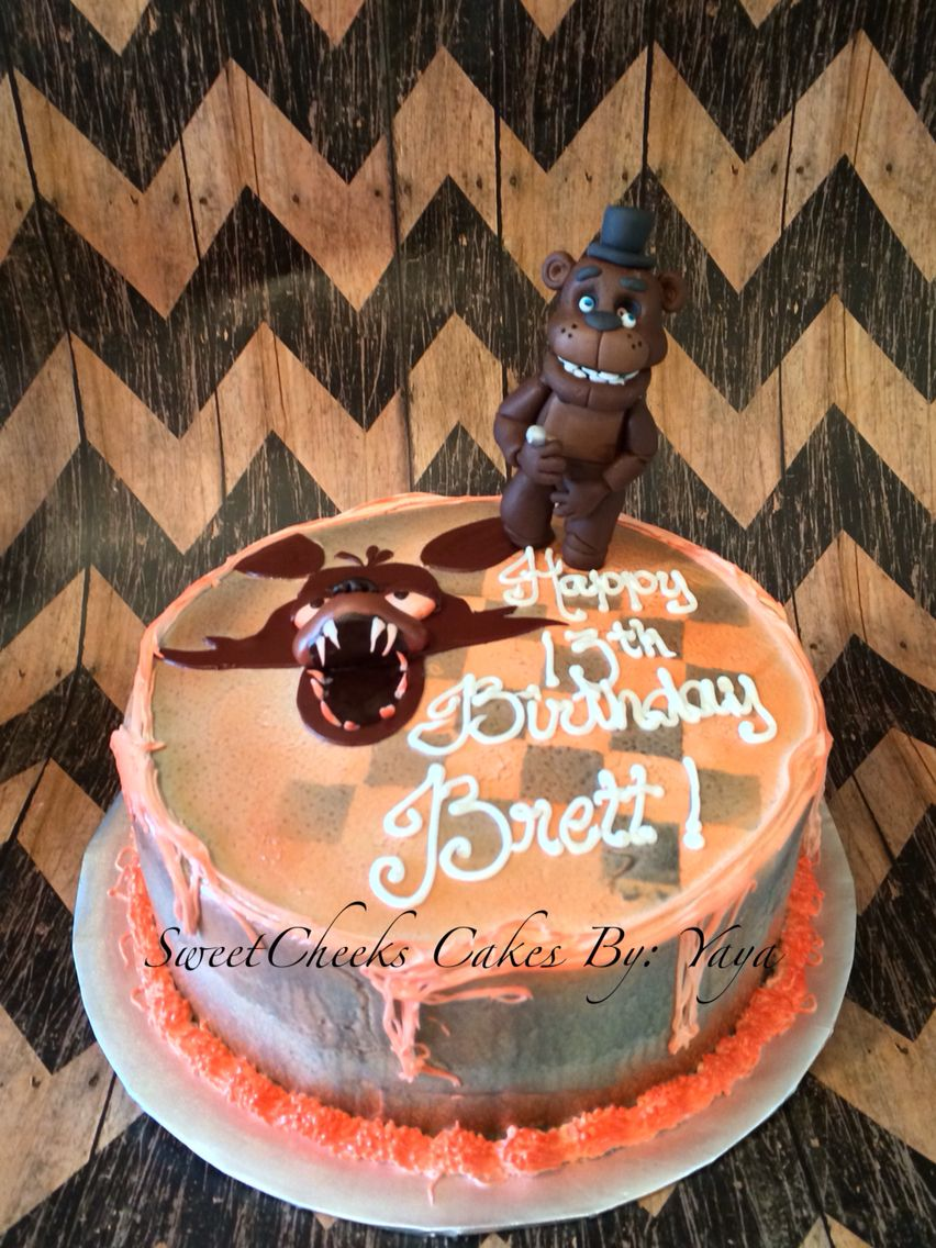 Ideas five nights at freddy party - Five Nights At Freddy S Bday Cake Freddy Is Hand Made Fondant Figure