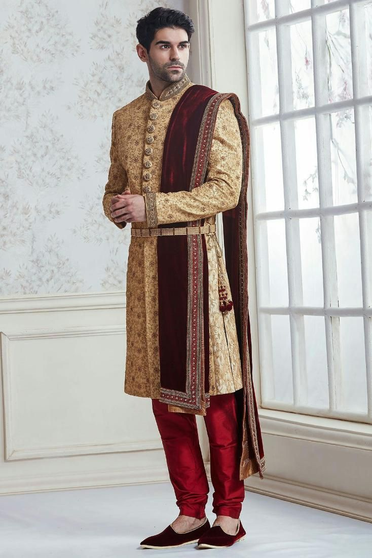 Dark golden zardosi belt sherwani mens sherwani in