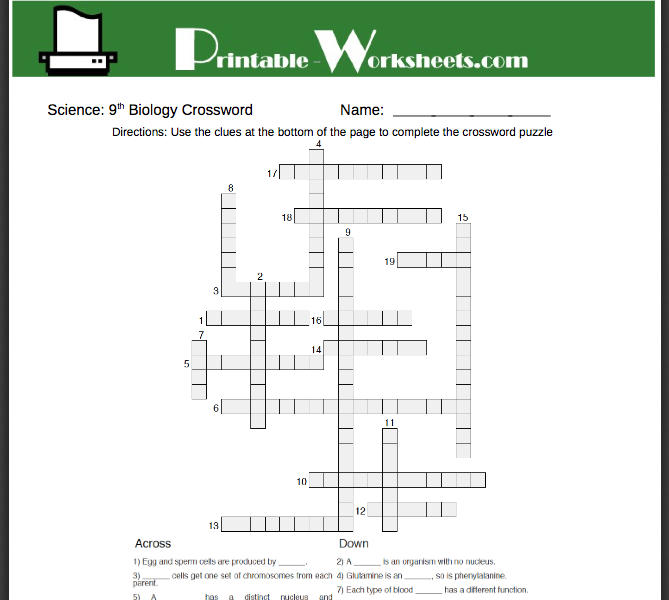 Free Biology worksheets! Parents can also help students to ...