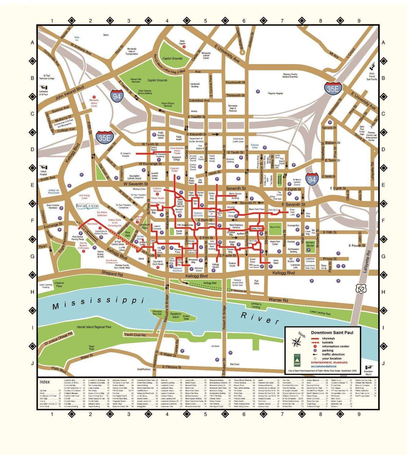 St. Paul skyway map | Minneapolis–Saint Paul | Map, Minneapolis, Downtown Minneapolis Skyway Map on