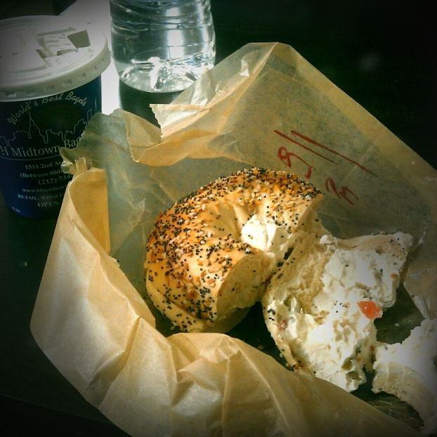 H and H Bagels in NYC makes the best everything bagels - spread with veggie cream cheese, they are the best in NYC.  I want one now!