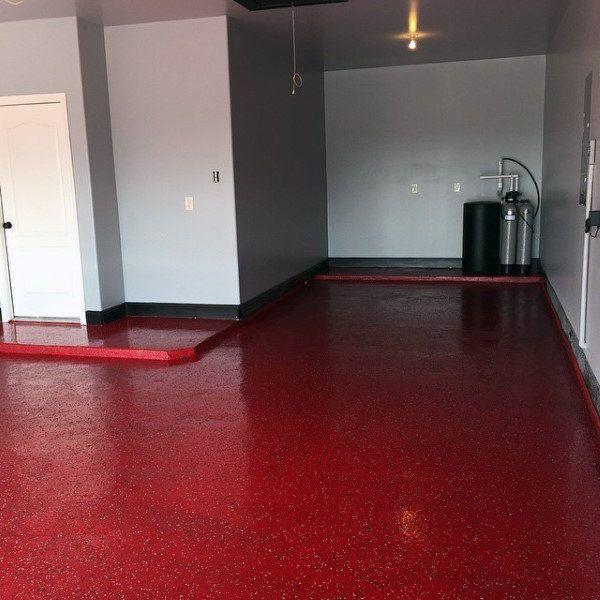 Painted Red Garage Epoxy Floor Ideas