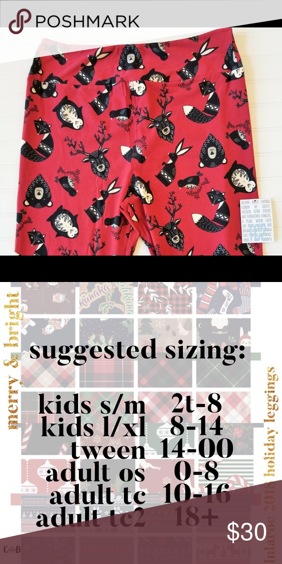 e84daa4c5e7052 LuLaRoe Merry&Bright Leggings NWT Merry&Bright Christmas Leggings! Deep red  background with Black Forest Animals!
