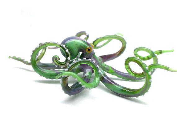Octopus//Squid Miniature Figure Animals Paint Glass Art Collectible Gift Decor