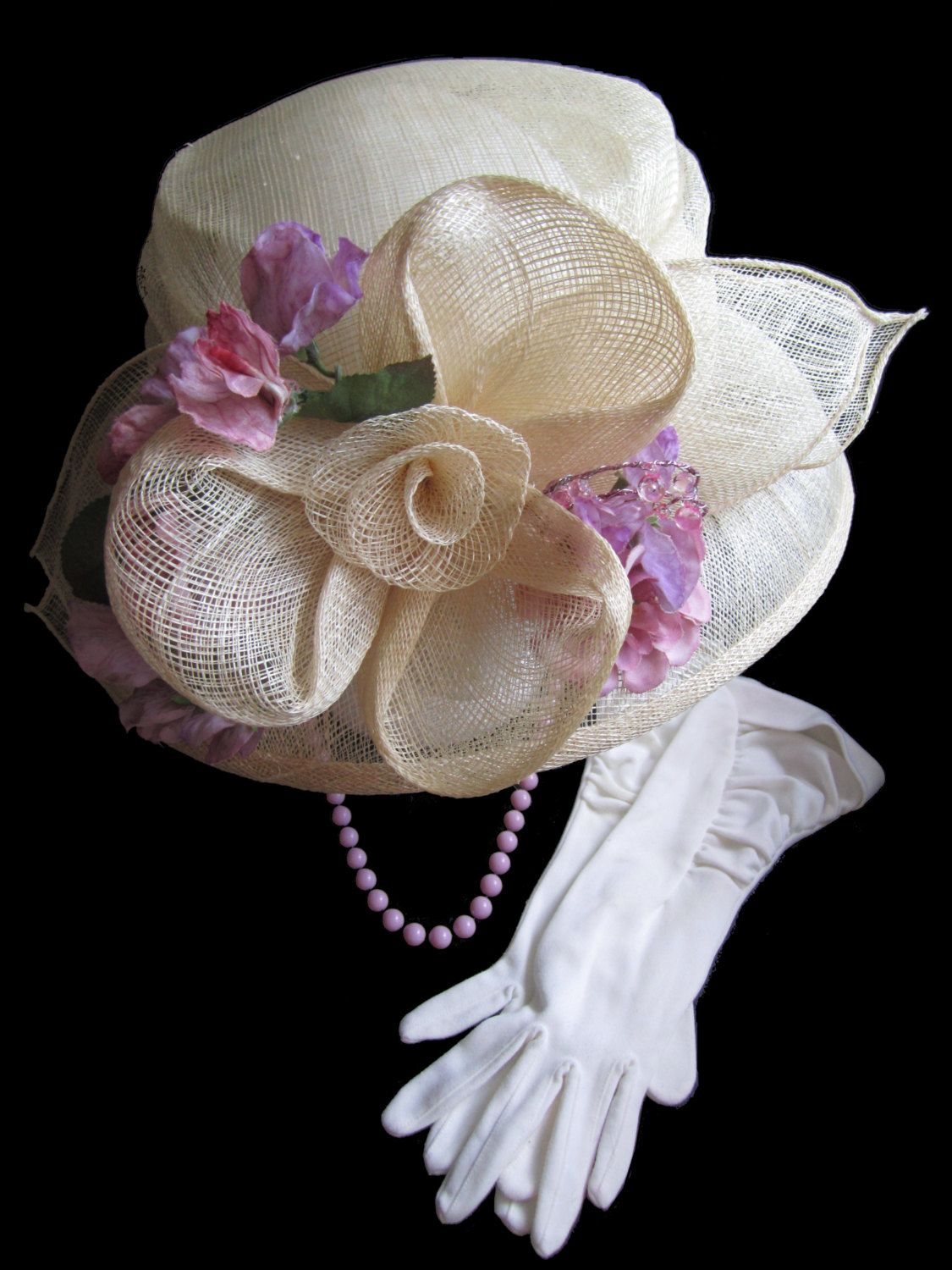 Girl/'s Tea Party Dress Up Set Purple and Pink Sun Hats 2 Faux Pearl Necklaces
