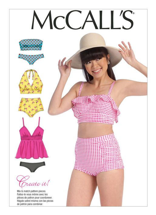 Two-piece vintage style swimsuit sewing pattern. High waist. M7168 ...