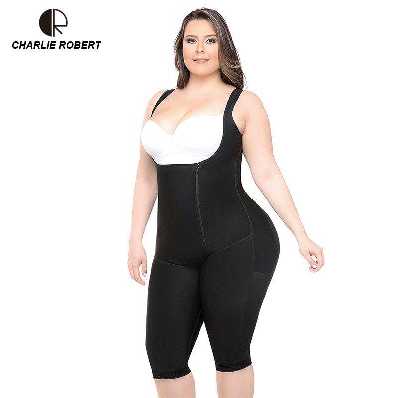 4ed171223b CR Plus Size 5XL Hot Latex Women s Body Shaper Post Liposuction Girdle Clip  Zip Bodysuit Vest Waist Shaper... original Price( ) 21.27sale Price( ) 14.89