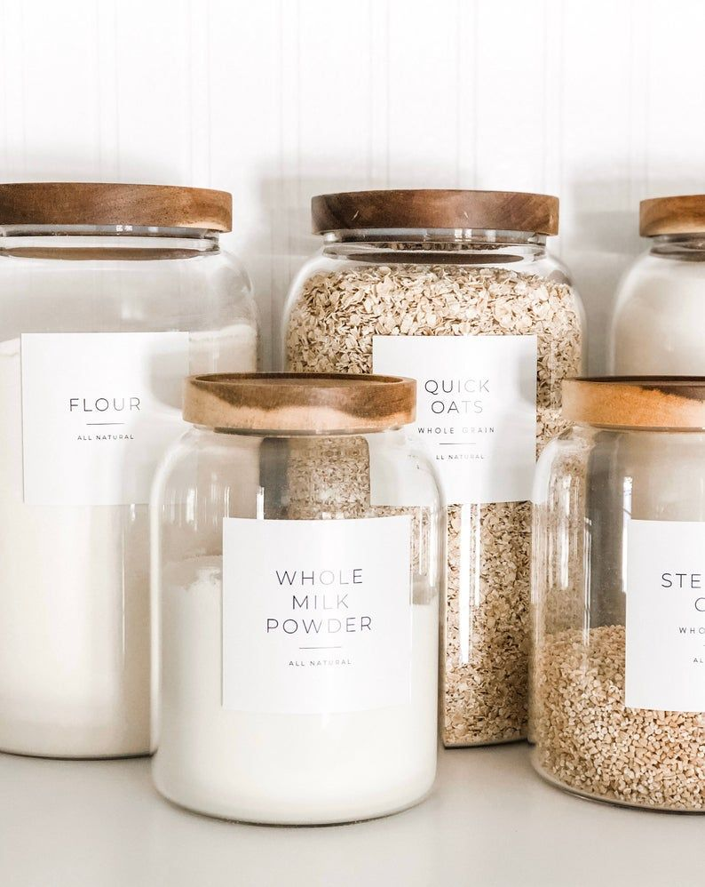 Minimalist Pantry Labels • Personalization Available • Durable, Water & Oil Resistant • Square or Round, fits Mason Jars