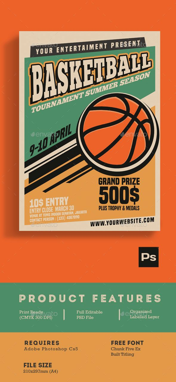 Basketball Tournament Vintage Style  Template Flyer Template And