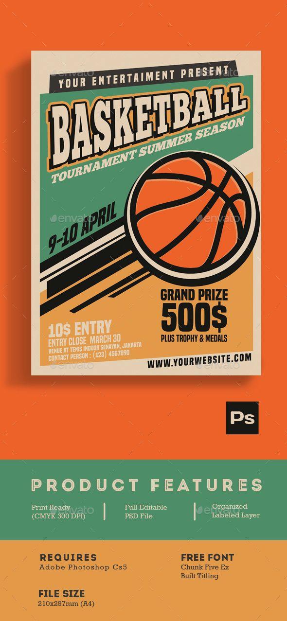 Basketball Tournament Vintage Style Flyer template, Template and - basketball flyer example
