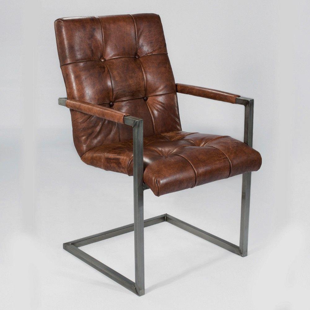 Schwingstuhl freischwinger designer echt leder vintage kassel dk braun armlehne st hle - Schwingstuhl mit armlehne esszimmer ...