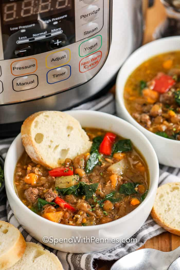 Instant Pot Lentil Soup Is A Hearty And Delicious Meal Made With Ground Beef Lentils Red Or Green In 2020 Lentil Soup Easy Soup With Ground Beef Beef Lentil Soup