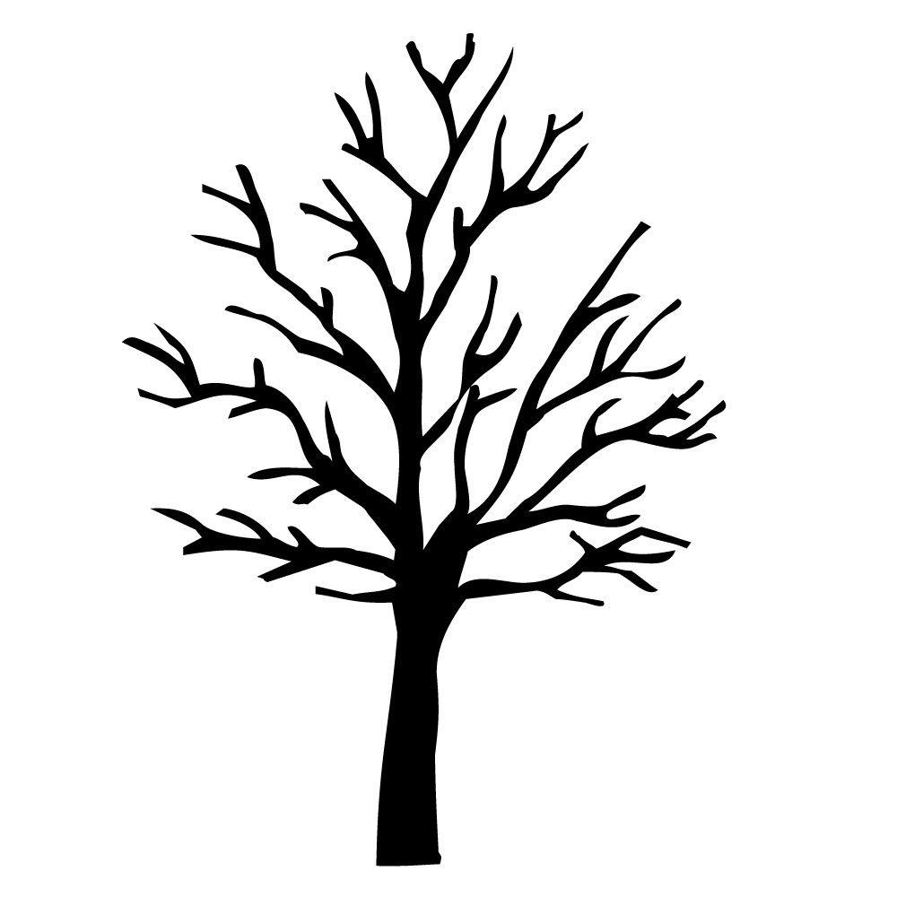 Kale Boom Zwart Eenvoudig Aan Te Brengen Op Elke Goed Schoongemaakte Stof En Vetvrije Gladde Ondergrond Met Uitg Boom Sjablonen Bomen Tekenen Herfst Bomen