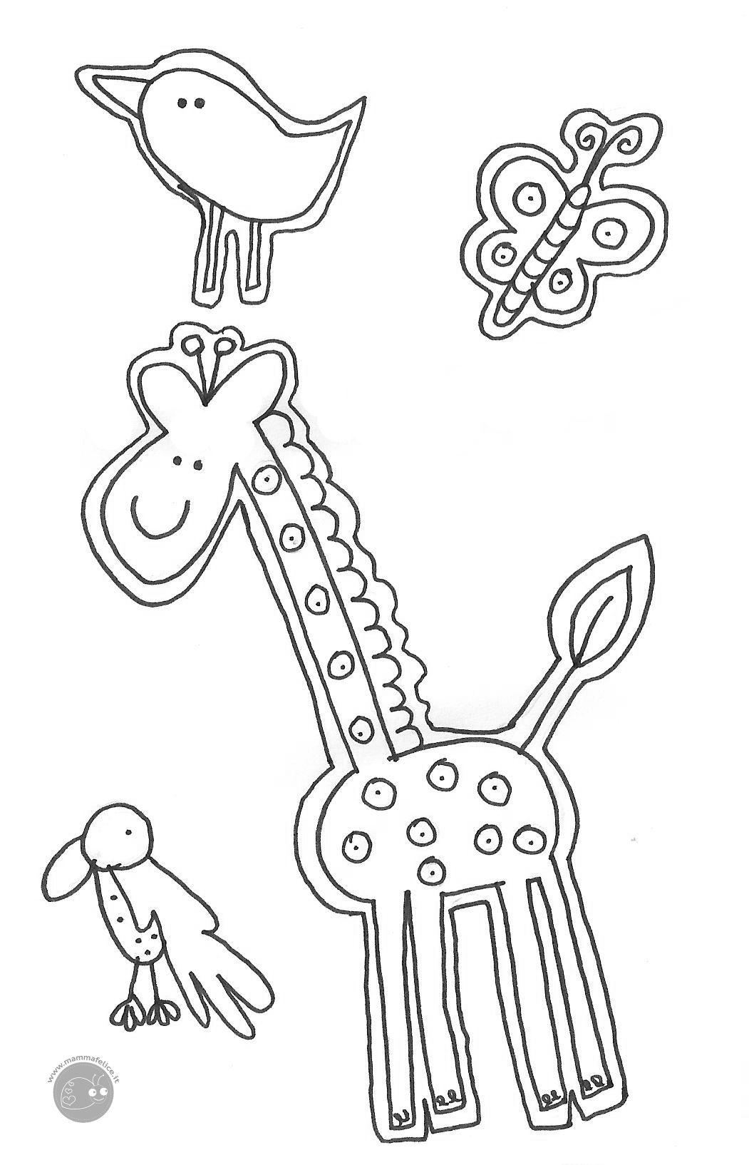 Disegno da colorare gratis bambini animali 1 for Immagini giraffa per bambini