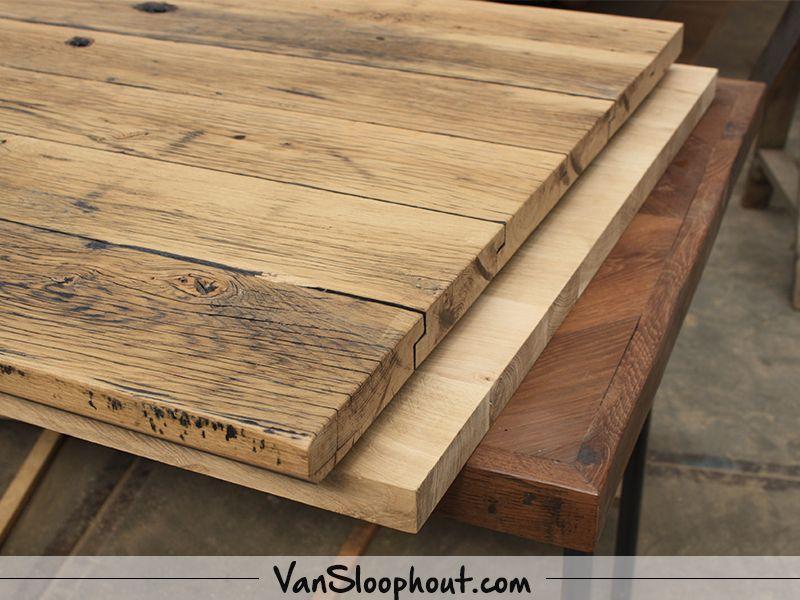 Houten tafelblad nieuw gebruikt hout robuust en karakteristiek