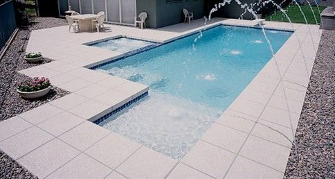 Plaster Attached To Pool Geometric Shastadeck Pattern Deck Jets Sun Shelf Backyard Pool Swimming Pools Small Backyard Pools