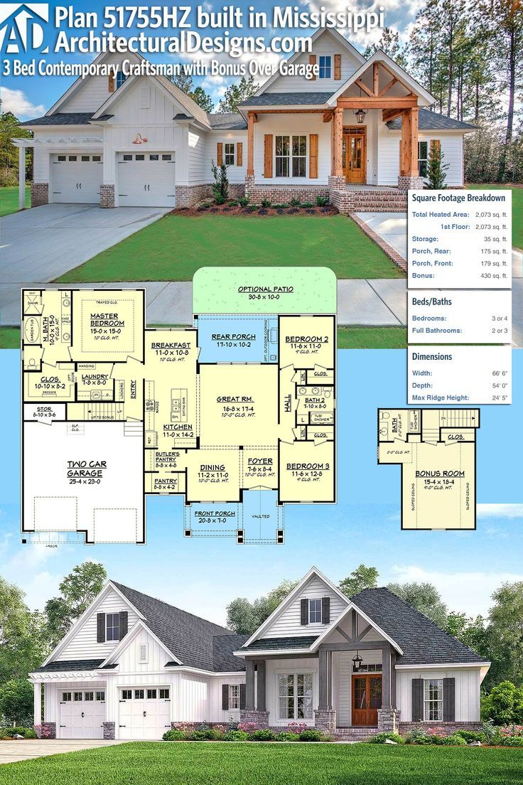 Architectural designs house plan hz built by our client hd homes in mississippi br ba sf plus  bonus room with bath over the garage also bed contemporary craftsman rh pinterest