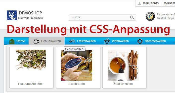 """Eine unglaublich flexible Erweiterung für Shopware 4 - das """"Erweiterte Grafik Menü""""  Im Store unter http://store.shopware.de/template-design/erweitertes-menue-mit-grafiken-dropdown-1-2-zeilig"""