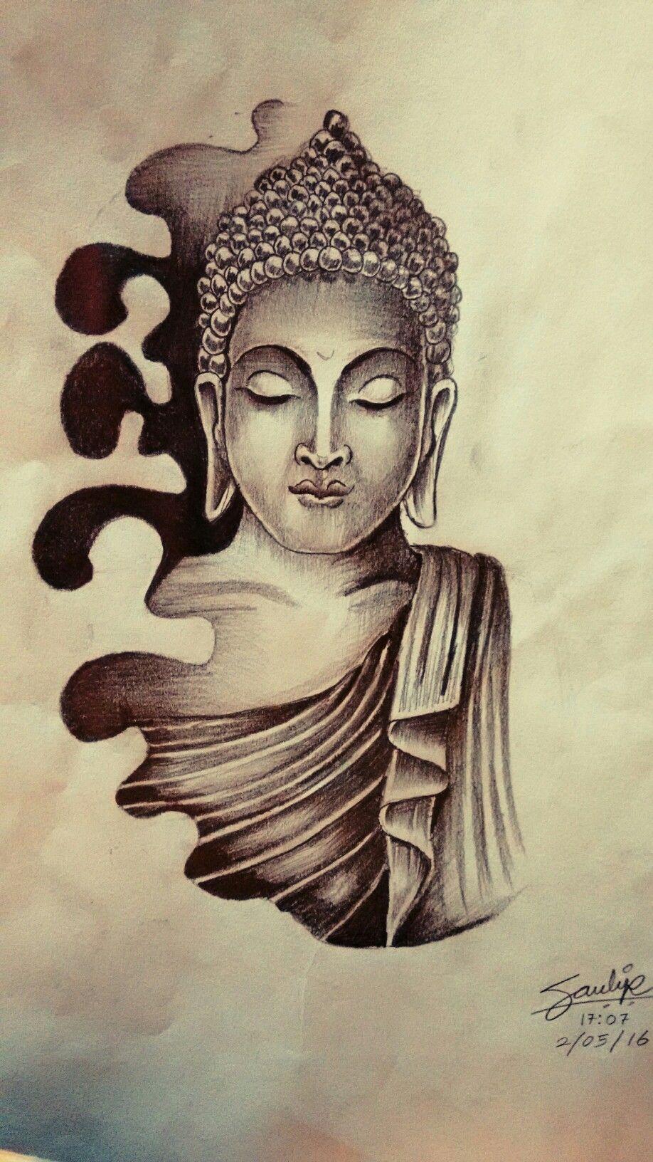 LORD Buddha Tattoo Drawing by Artist Sandip Uttam at ... for Gautam Buddha Face Tattoo  156eri