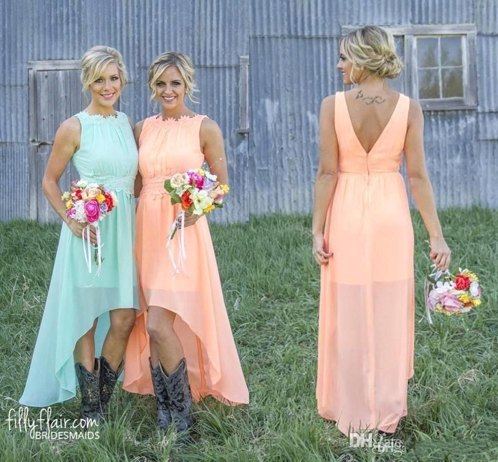 2016 fashion peach chiffon bridesmaid dresses high low western 2016 fashion peach chiffon bridesmaid dresses high low western country lace cheap wedding party prom dress ombrellifo Choice Image