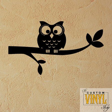 Wall Stickers & Murals: Cute Owl on Branch - Vinyl Wall Decal Decor ...